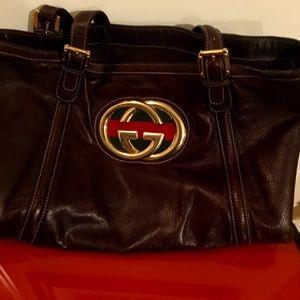 Designer Brown leather Gucci  handbag. Carry all